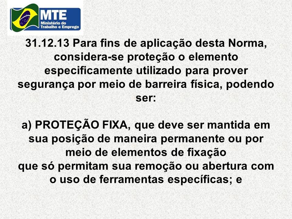 31.12.13 Para fins de aplicação desta Norma, considera-se proteção o elemento especificamente utilizado para prover segurança por meio de barreira fís