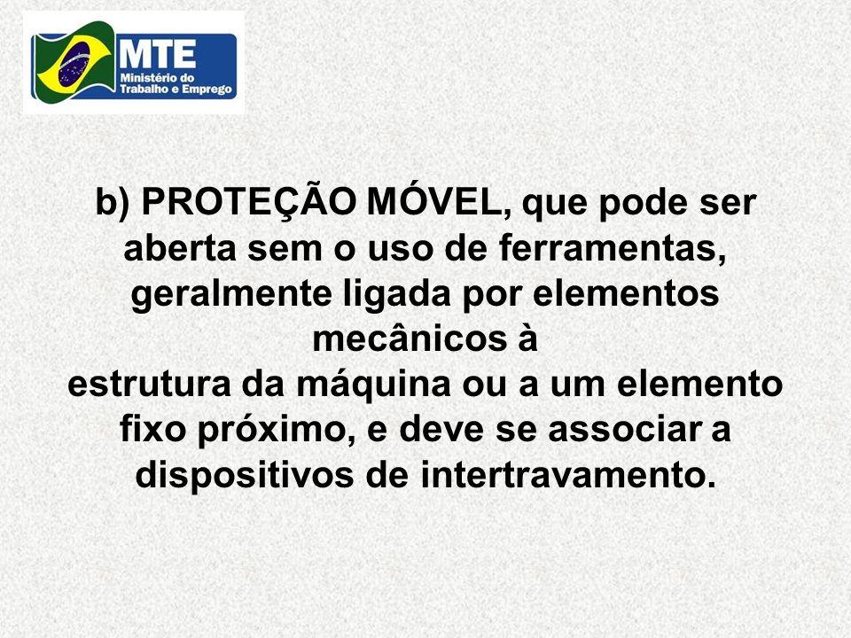 b) PROTEÇÃO MÓVEL, que pode ser aberta sem o uso de ferramentas, geralmente ligada por elementos mecânicos à estrutura da máquina ou a um elemento fix