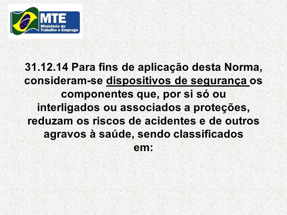 31.12.14 Para fins de aplicação desta Norma, consideram-se dispositivos de segurança os componentes que, por si só ou interligados ou associados a pro