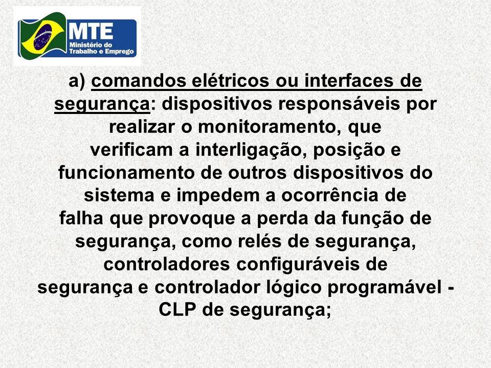 a) comandos elétricos ou interfaces de segurança: dispositivos responsáveis por realizar o monitoramento, que verificam a interligação, posição e func