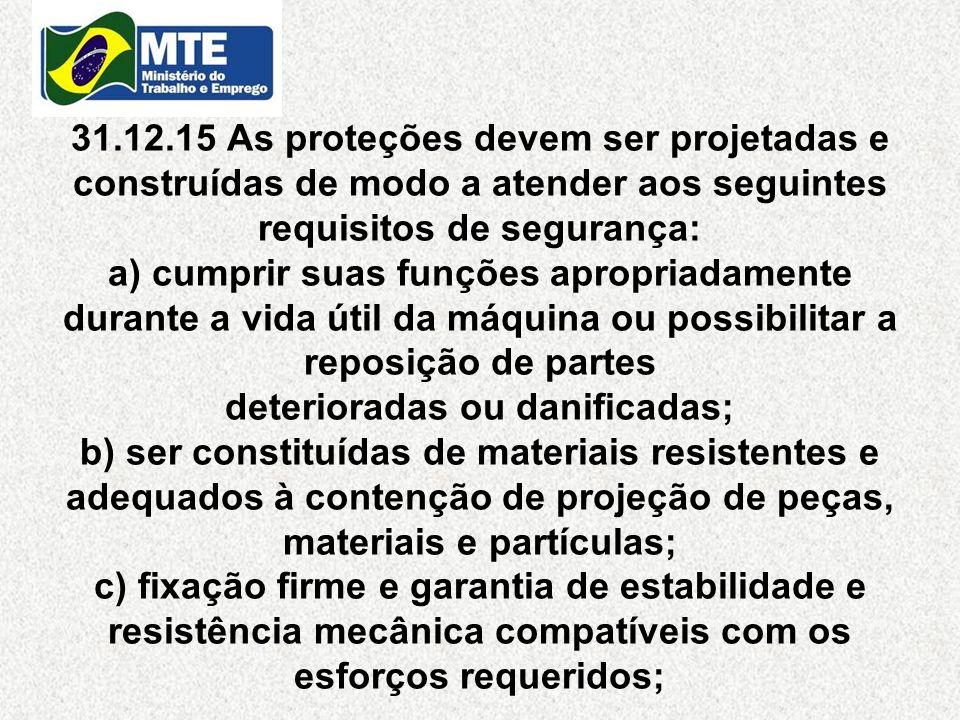 31.12.15 As proteções devem ser projetadas e construídas de modo a atender aos seguintes requisitos de segurança: a) cumprir suas funções apropriadame