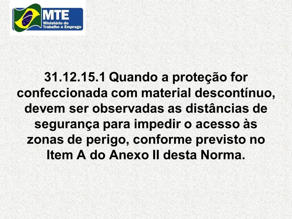 31.12.15.1 Quando a proteção for confeccionada com material descontínuo, devem ser observadas as distâncias de segurança para impedir o acesso às zona