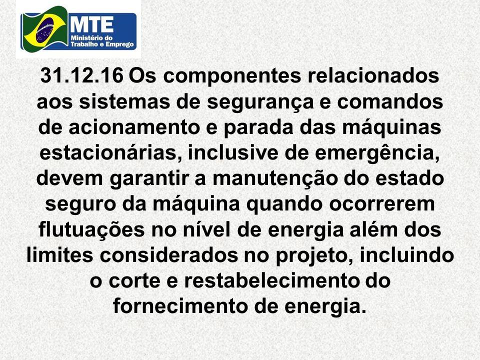31.12.16 Os componentes relacionados aos sistemas de segurança e comandos de acionamento e parada das máquinas estacionárias, inclusive de emergência,
