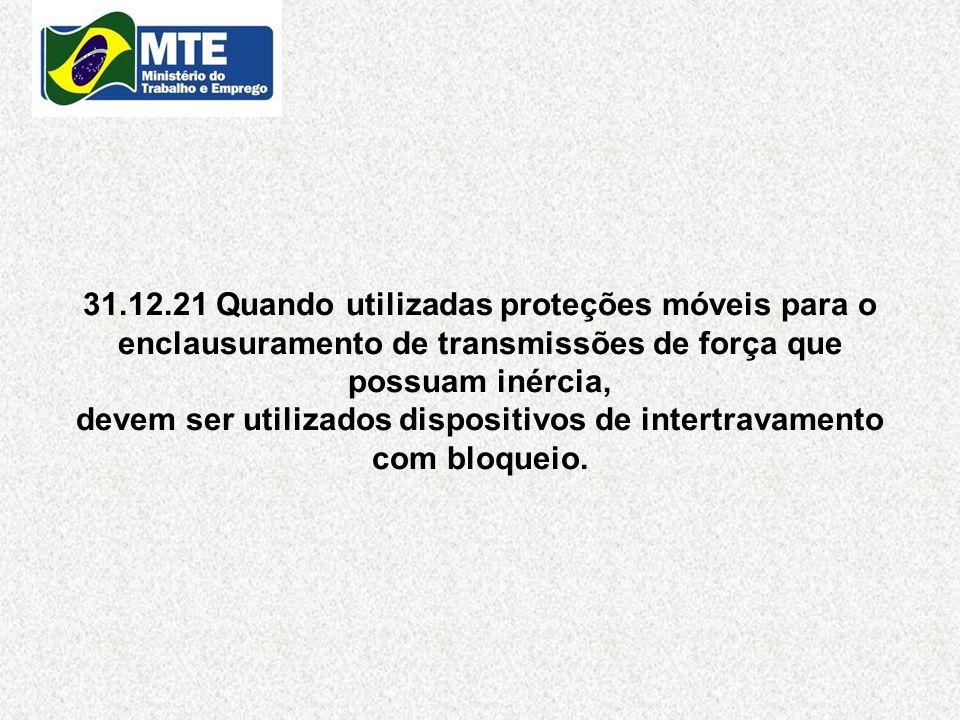 31.12.21 Quando utilizadas proteções móveis para o enclausuramento de transmissões de força que possuam inércia, devem ser utilizados dispositivos de