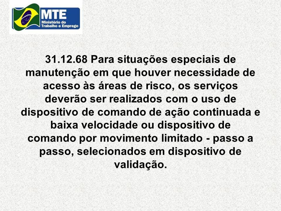 31.12.68 Para situações especiais de manutenção em que houver necessidade de acesso às áreas de risco, os serviços deverão ser realizados com o uso de
