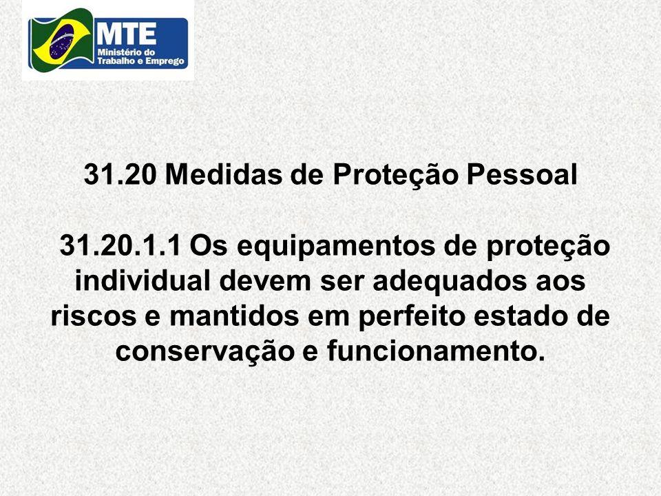 31.20 Medidas de Proteção Pessoal 31.20.1.1 Os equipamentos de proteção individual devem ser adequados aos riscos e mantidos em perfeito estado de con