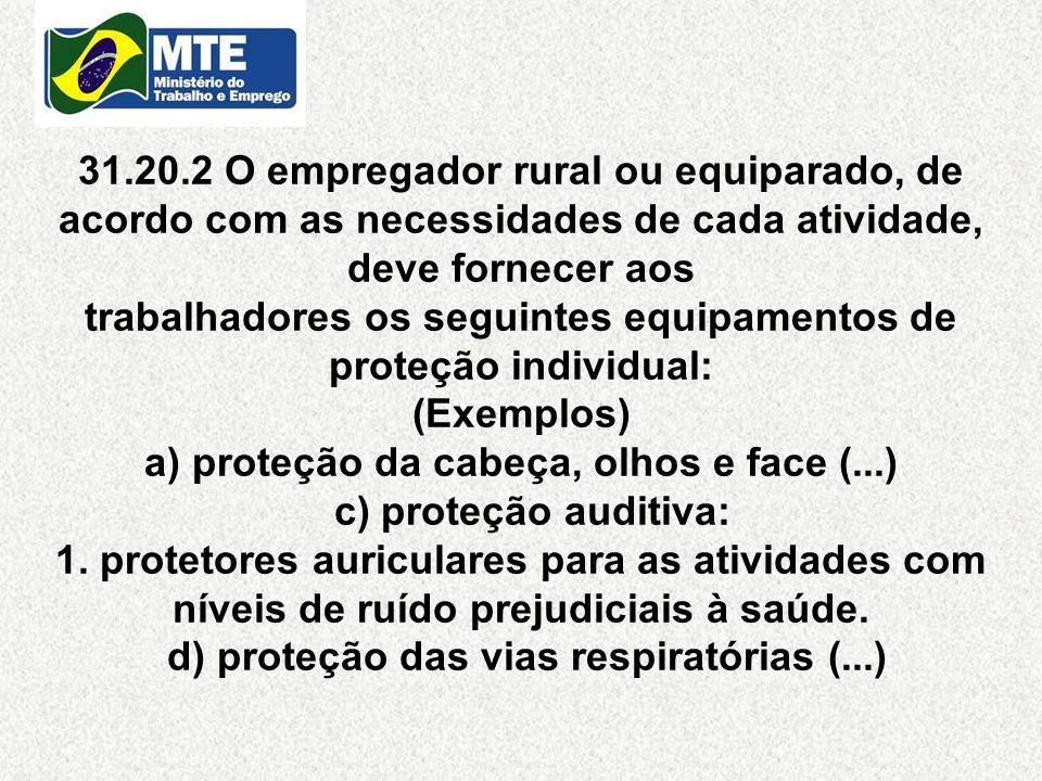 31.20.2 O empregador rural ou equiparado, de acordo com as necessidades de cada atividade, deve fornecer aos trabalhadores os seguintes equipamentos d