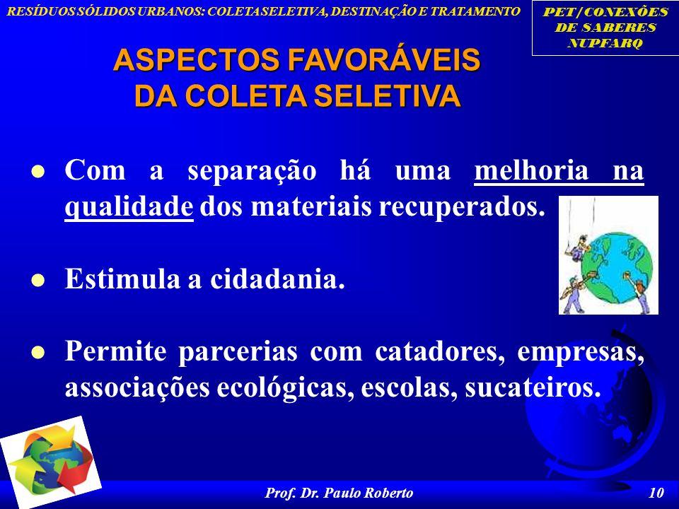 PET/CONEXÕES DE SABERES NUPFARQ RESÍDUOS SÓLIDOS URBANOS: COLETA SELETIVA, DESTINAÇÃO E TRATAMENTO Prof. Dr. Paulo Roberto 10 ASPECTOS FAVORÁVEIS DA C