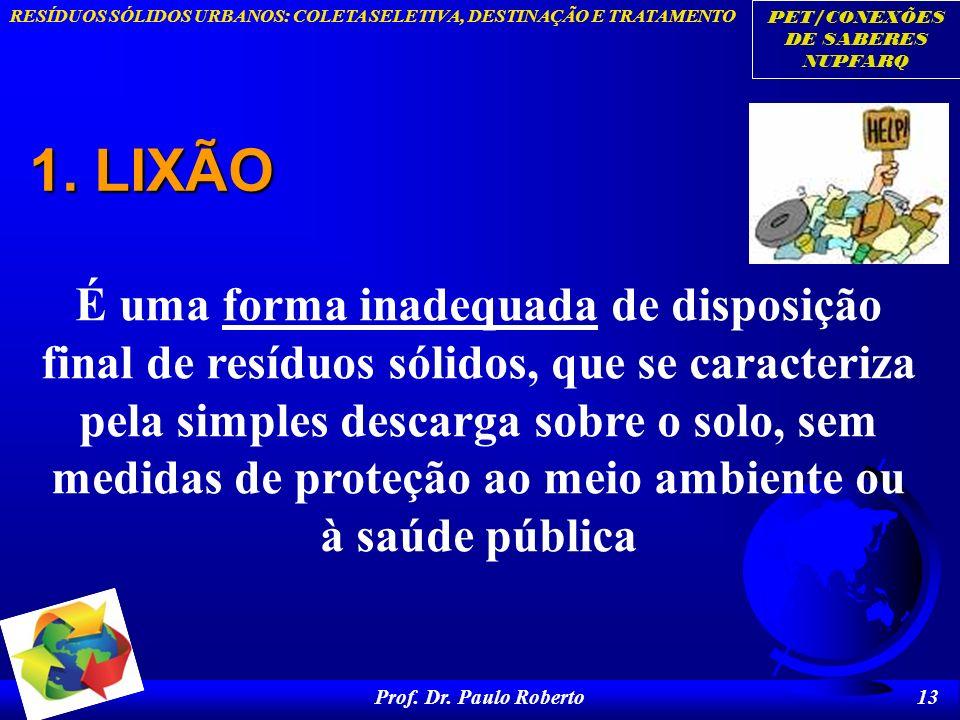 PET/CONEXÕES DE SABERES NUPFARQ RESÍDUOS SÓLIDOS URBANOS: COLETA SELETIVA, DESTINAÇÃO E TRATAMENTO Prof. Dr. Paulo Roberto 13 1. LIXÃO É uma forma ina