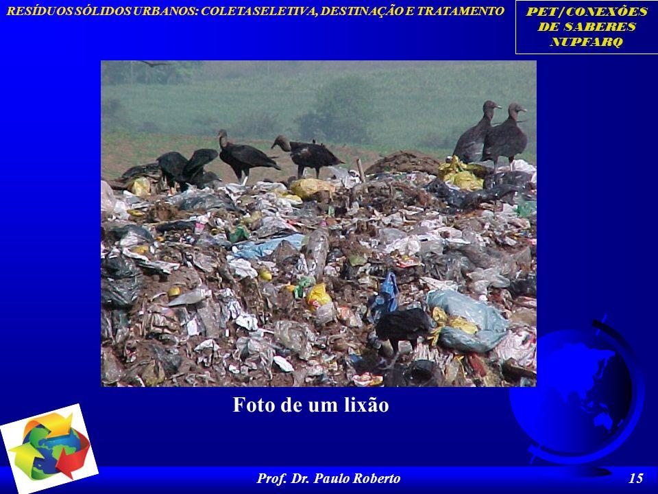 PET/CONEXÕES DE SABERES NUPFARQ RESÍDUOS SÓLIDOS URBANOS: COLETA SELETIVA, DESTINAÇÃO E TRATAMENTO Prof. Dr. Paulo Roberto 15 Foto de um lixão