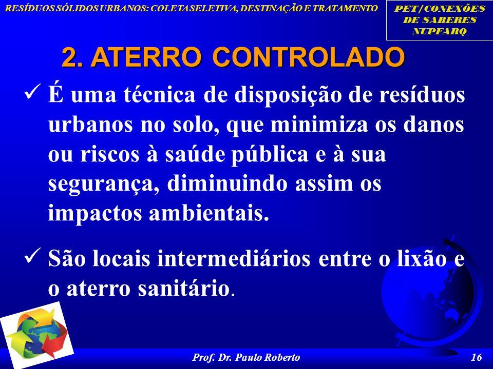 PET/CONEXÕES DE SABERES NUPFARQ RESÍDUOS SÓLIDOS URBANOS: COLETA SELETIVA, DESTINAÇÃO E TRATAMENTO Prof. Dr. Paulo Roberto 16 2. ATERRO CONTROLADO É u