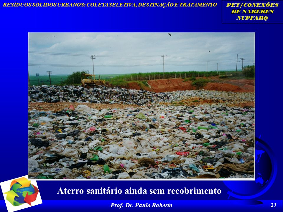 PET/CONEXÕES DE SABERES NUPFARQ RESÍDUOS SÓLIDOS URBANOS: COLETA SELETIVA, DESTINAÇÃO E TRATAMENTO Prof. Dr. Paulo Roberto 21 Aterro sanitário ainda s