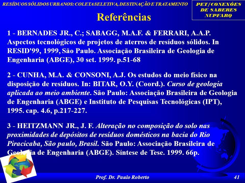 PET/CONEXÕES DE SABERES NUPFARQ RESÍDUOS SÓLIDOS URBANOS: COLETA SELETIVA, DESTINAÇÃO E TRATAMENTO Prof. Dr. Paulo Roberto 41 Referências 1 - BERNADES
