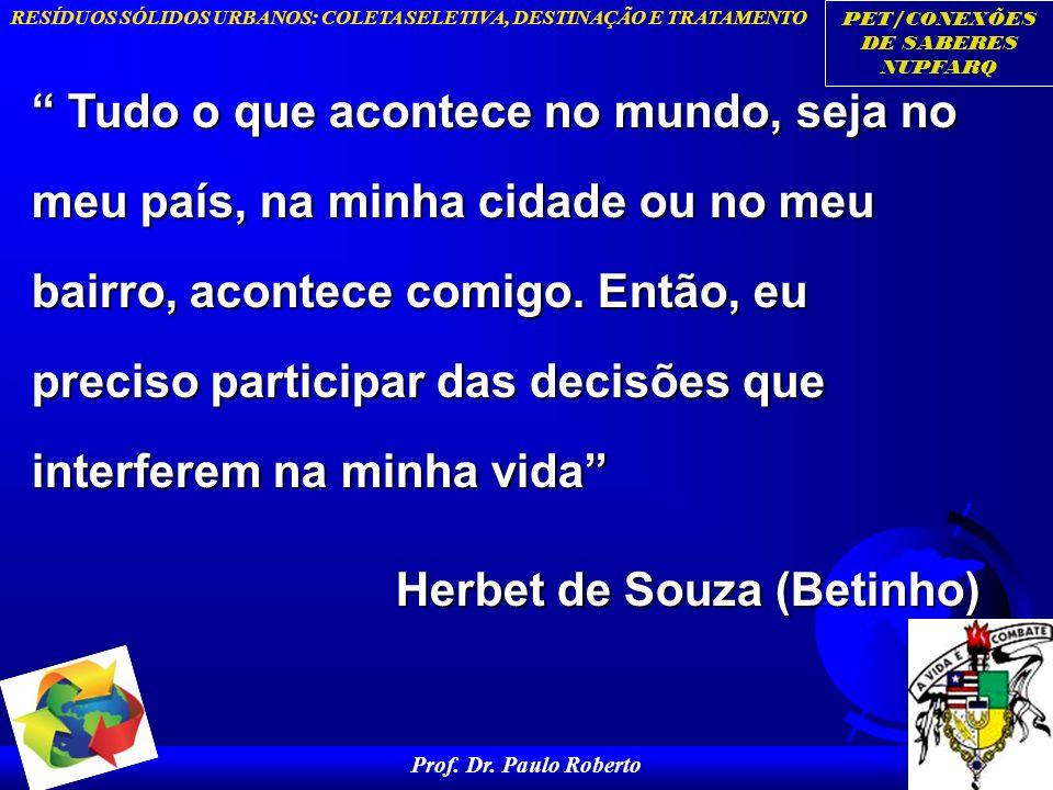 PET/CONEXÕES DE SABERES NUPFARQ RESÍDUOS SÓLIDOS URBANOS: COLETA SELETIVA, DESTINAÇÃO E TRATAMENTO Prof. Dr. Paulo Roberto 42 Tudo o que acontece no m