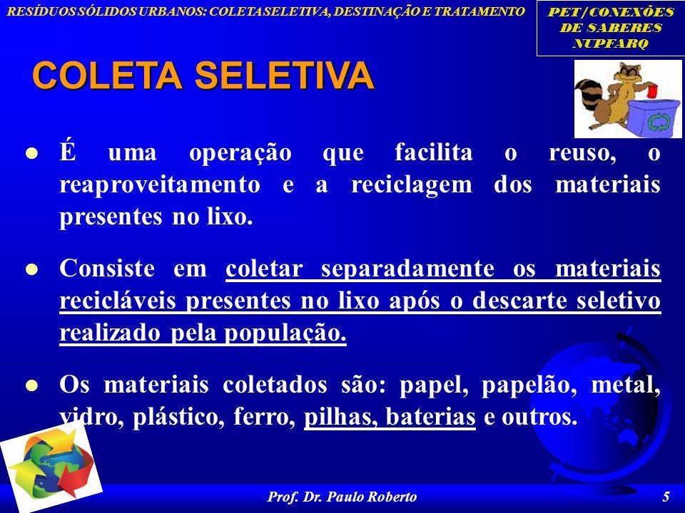PET/CONEXÕES DE SABERES NUPFARQ RESÍDUOS SÓLIDOS URBANOS: COLETA SELETIVA, DESTINAÇÃO E TRATAMENTO Prof. Dr. Paulo Roberto 5 COLETA SELETIVA É uma ope