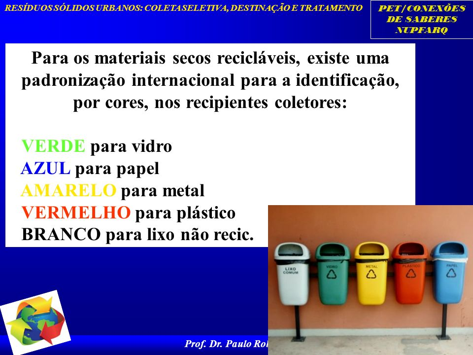 PET/CONEXÕES DE SABERES NUPFARQ RESÍDUOS SÓLIDOS URBANOS: COLETA SELETIVA, DESTINAÇÃO E TRATAMENTO Prof. Dr. Paulo Roberto 8 Para os materiais secos r