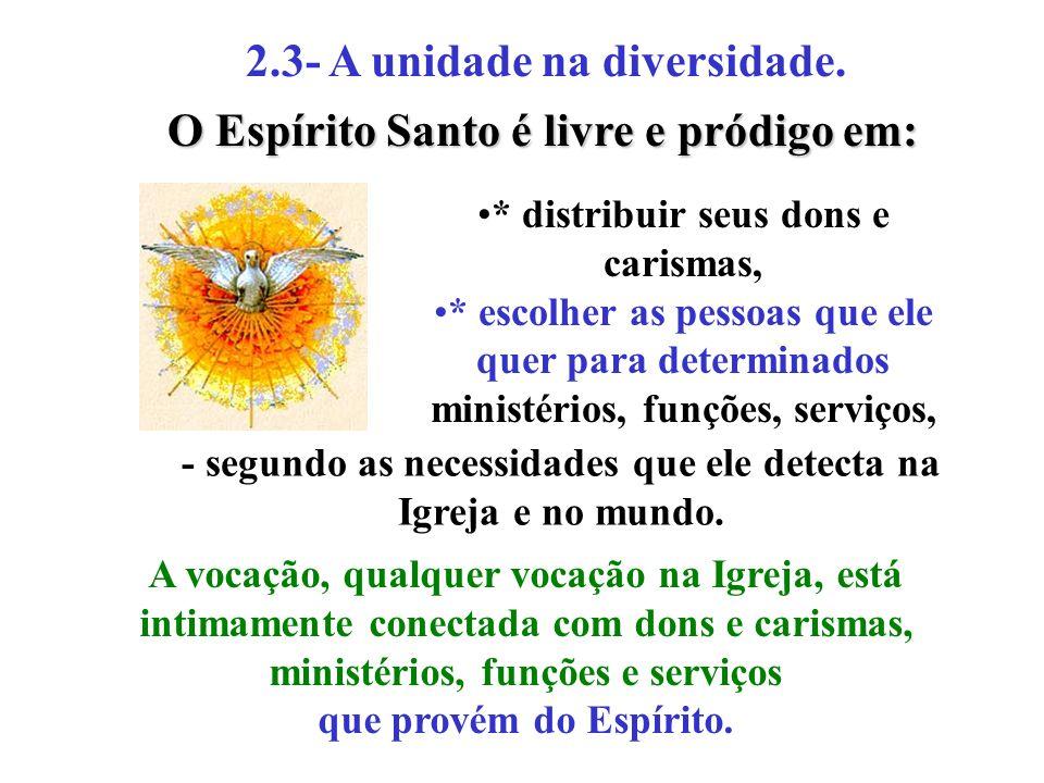 2.3- A unidade na diversidade. * distribuir seus dons e carismas, * escolher as pessoas que ele quer para determinados ministérios, funções, serviços,