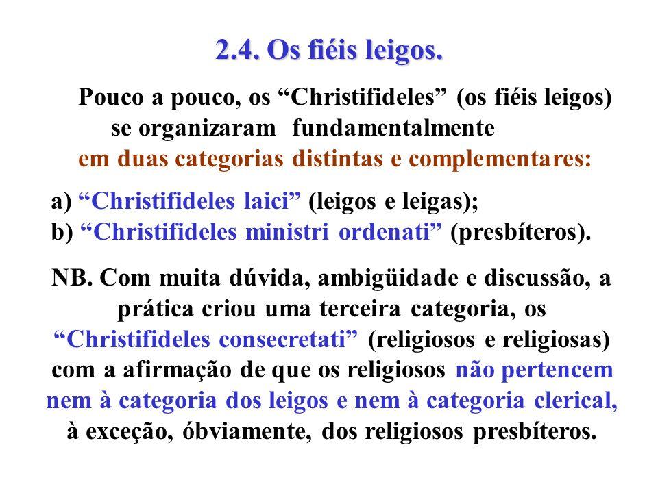 2.4. Os fiéis leigos. Pouco a pouco, os Christifideles (os fiéis leigos) se organizaram fundamentalmente em duas categorias distintas e complementares