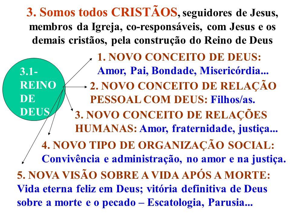 3. Somos todos CRISTÃOS, seguidores de Jesus, membros da Igreja, co-responsáveis, com Jesus e os demais cristãos, pela construção do Reino de Deus 3.1
