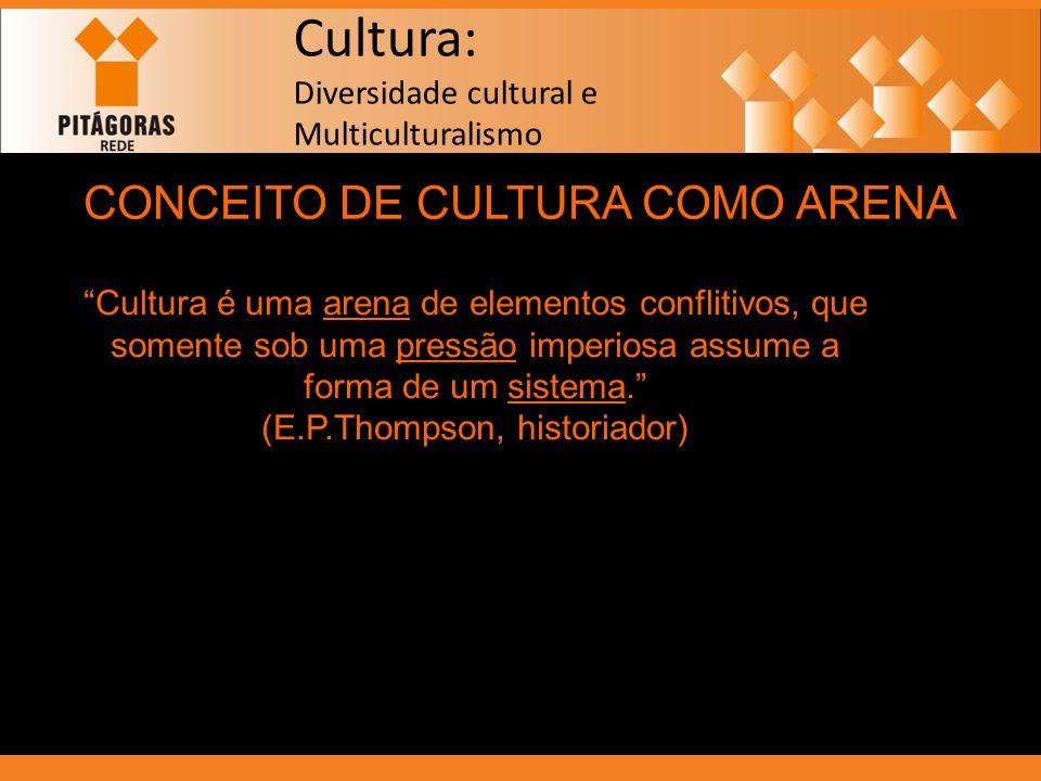 Cultura: Diversidade cultural e Multiculturalismo CONCEITO DE CULTURA COMO ARENA Cultura é uma arena de elementos conflitivos, que somente sob uma pre