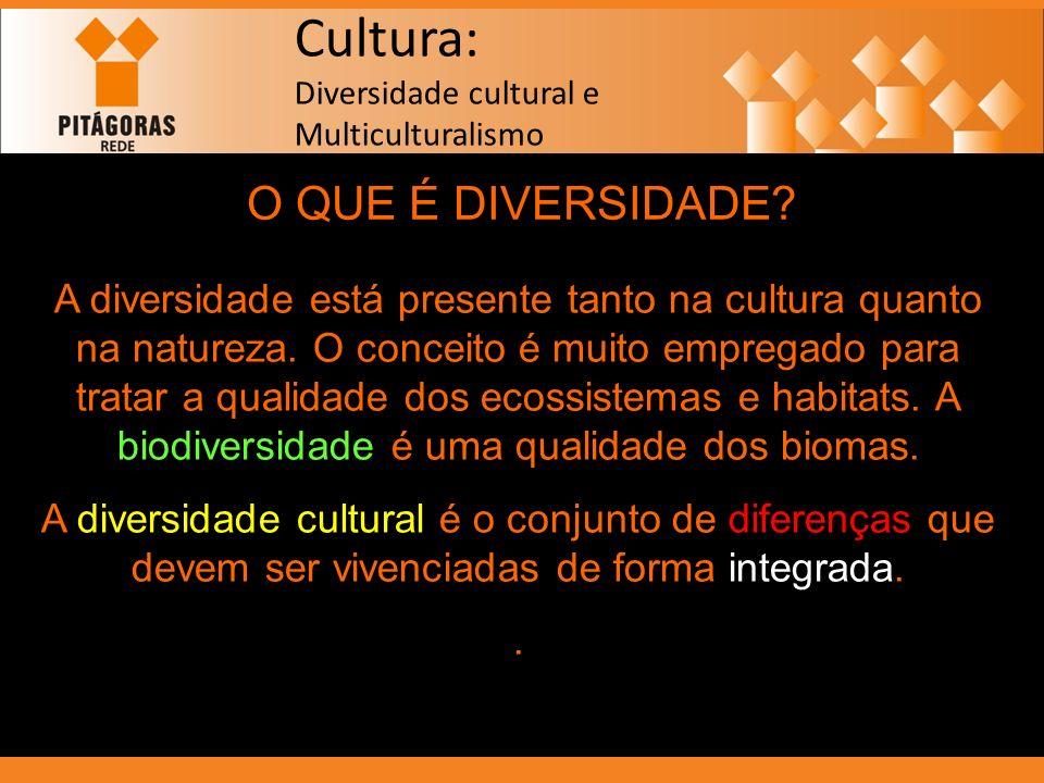 Cultura: Diversidade cultural e Multiculturalismo O QUE É DIVERSIDADE? A diversidade está presente tanto na cultura quanto na natureza. O conceito é m