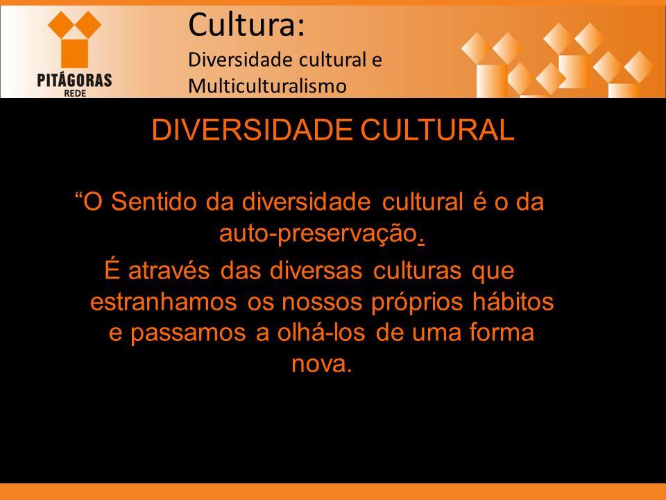 Cultura: Diversidade cultural e Multiculturalismo DIVERSIDADE CULTURAL O Sentido da diversidade cultural é o da auto-preservação. É através das divers