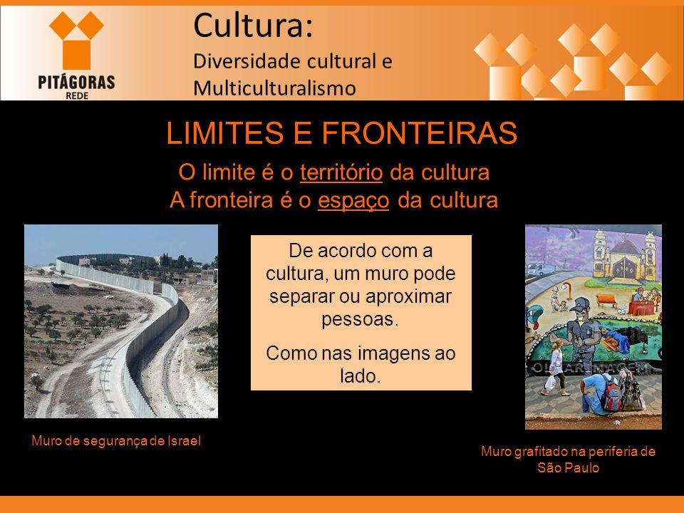 Cultura: Diversidade cultural e Multiculturalismo LIMITES E FRONTEIRAS O limite é o território da cultura A fronteira é o espaço da cultura De acordo
