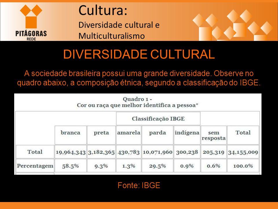 Cultura: Diversidade cultural e Multiculturalismo DIVERSIDADE CULTURAL A sociedade brasileira possui uma grande diversidade. Observe no quadro abaixo,