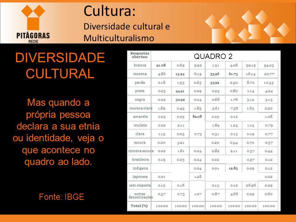 Cultura: Diversidade cultural e Multiculturalismo DIVERSIDADE CULTURAL Mas quando a própria pessoa declara a sua etnia ou identidade, veja o que acont