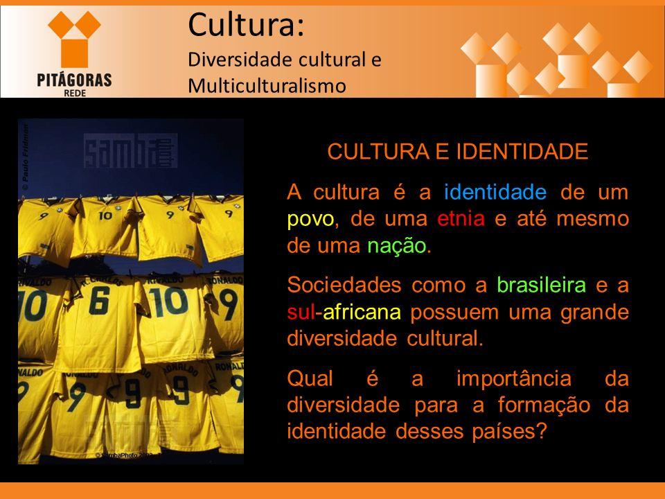 Cultura: Diversidade cultural e Multiculturalismo CULTURA E IDENTIDADE A cultura é a identidade de um povo, de uma etnia e até mesmo de uma nação. Soc