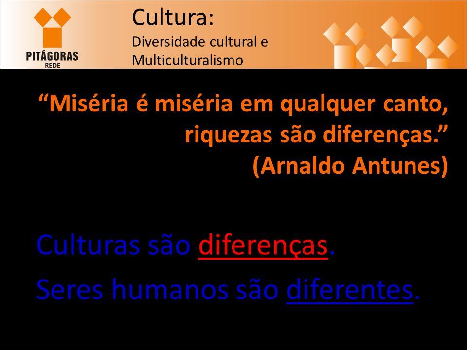 Miséria é miséria em qualquer canto, riquezas são diferenças. (Arnaldo Antunes) Culturas são diferenças. Seres humanos são diferentes. 1 Cultura: Dive