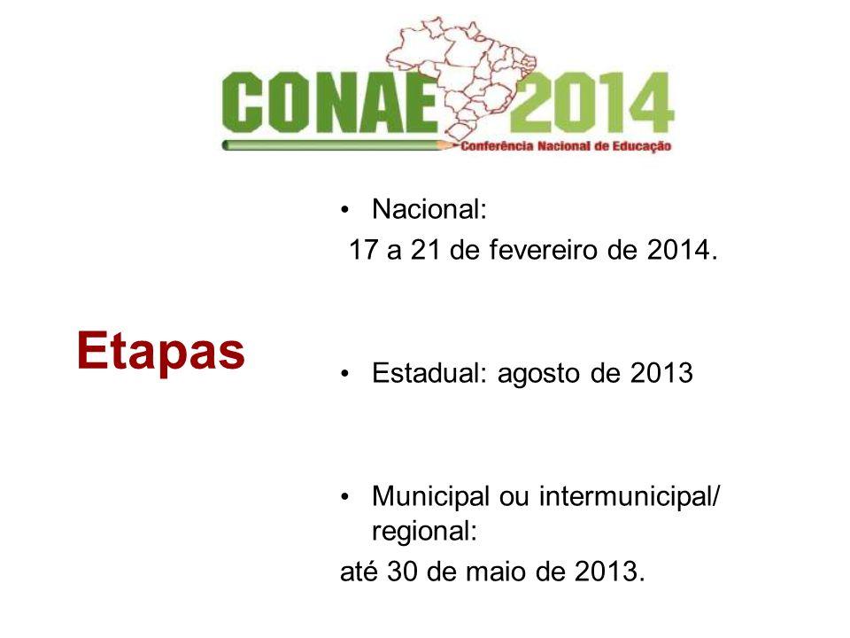 Etapas Nacional: 17 a 21 de fevereiro de 2014. Estadual: agosto de 2013 Municipal ou intermunicipal/ regional: até 30 de maio de 2013.
