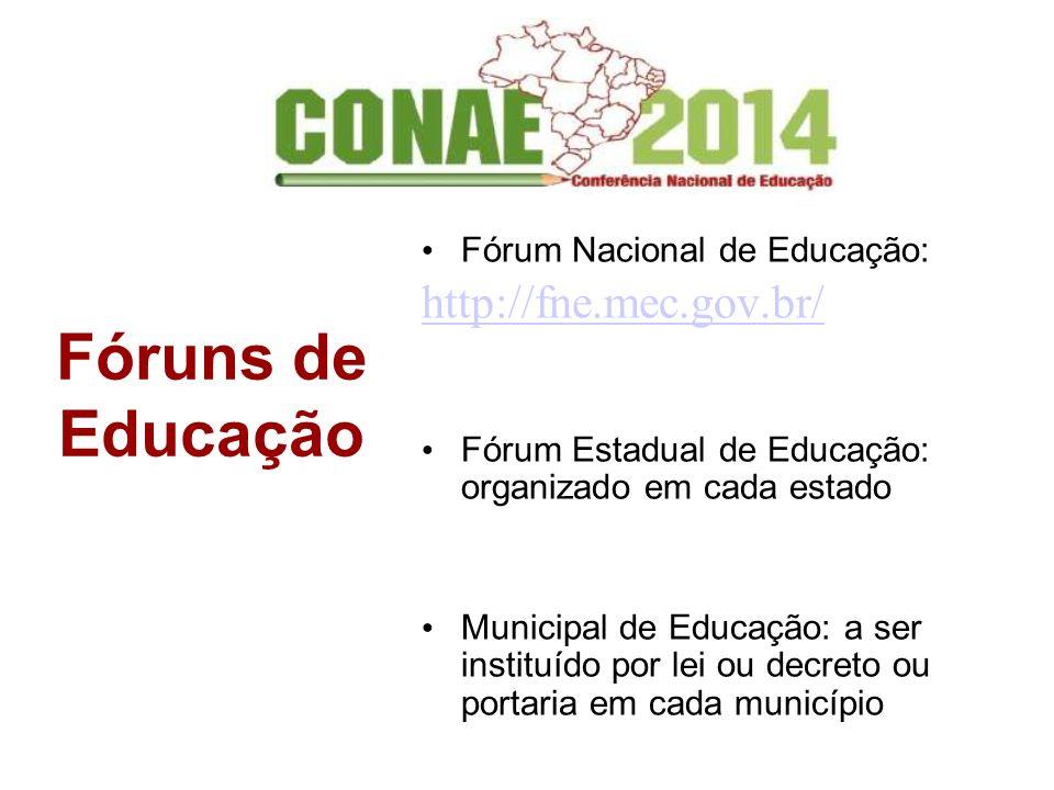 Fóruns de Educação Fórum Nacional de Educação: http://fne.mec.gov.br/ Fórum Estadual de Educação: organizado em cada estado Municipal de Educação: a s