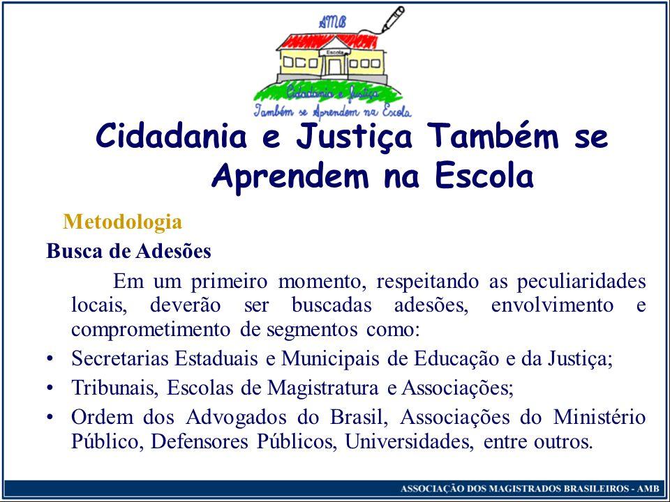 Cidadania e Justiça Também se Aprendem na Escola Área de Abrangência A AMB tem desenvolvido o projeto em vários Estados da Federação, por meio de parc