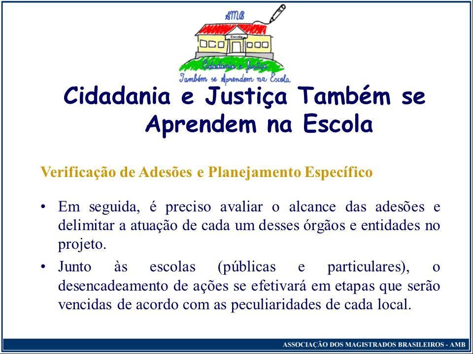 Cidadania e Justiça Também se Aprendem na Escola Metodologia Busca de Adesões Em um primeiro momento, respeitando as peculiaridades locais, deverão se