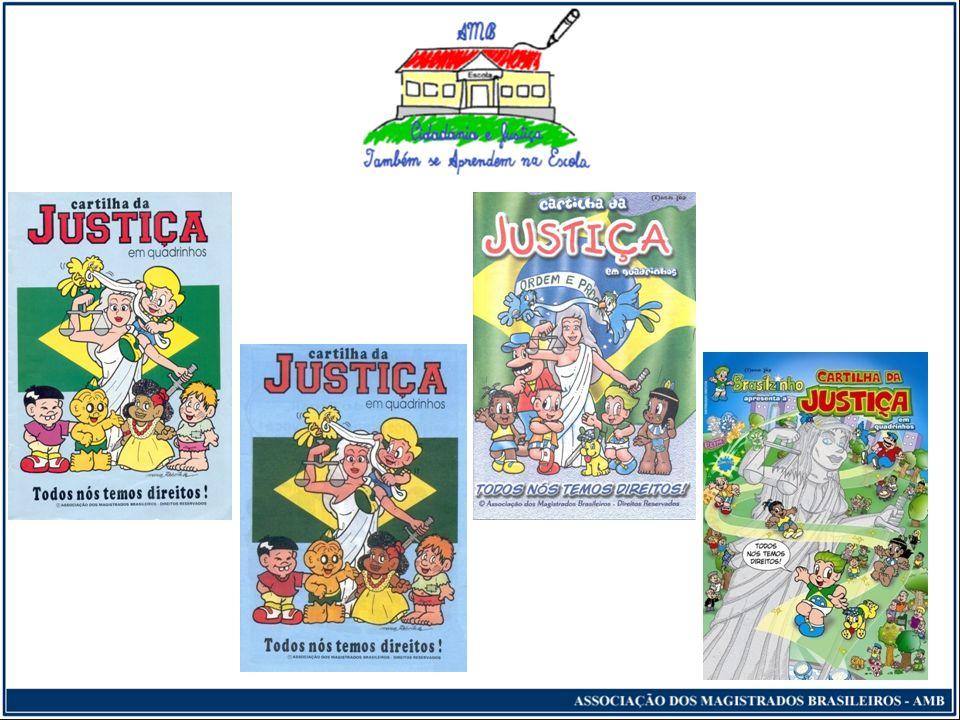 Cidadania e Justiça Também se Aprendem na Escola Distribuição do Kit professor (vídeos, cartilhas, panfletos, gibis, livretos educativos e cartazes), que os fortaleçam com informações e esclarecimentos para o melhor ensinamento aos alunos.