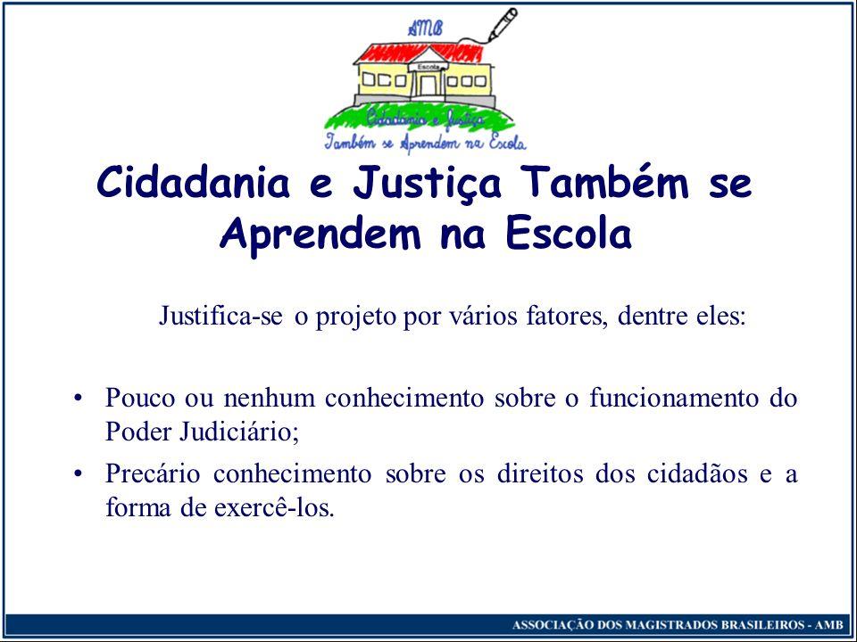 Cidadania e Justiça Também se Aprendem na Escola Justifica-se o projeto por vários fatores, dentre eles: Pouco ou nenhum conhecimento sobre o funcionamento do Poder Judiciário; Precário conhecimento sobre os direitos dos cidadãos e a forma de exercê-los.