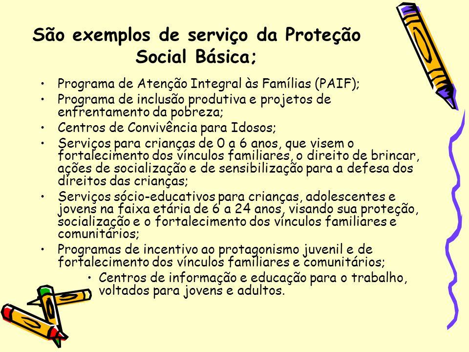São exemplos de serviço da Proteção Social Básica; Programa de Atenção Integral às Famílias (PAIF); Programa de inclusão produtiva e projetos de enfre