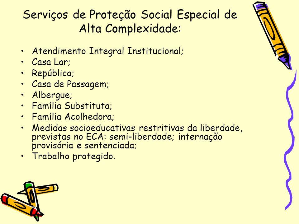 Serviços de Proteção Social Especial de Alta Complexidade: Atendimento Integral Institucional; Casa Lar; República; Casa de Passagem; Albergue; Famíli