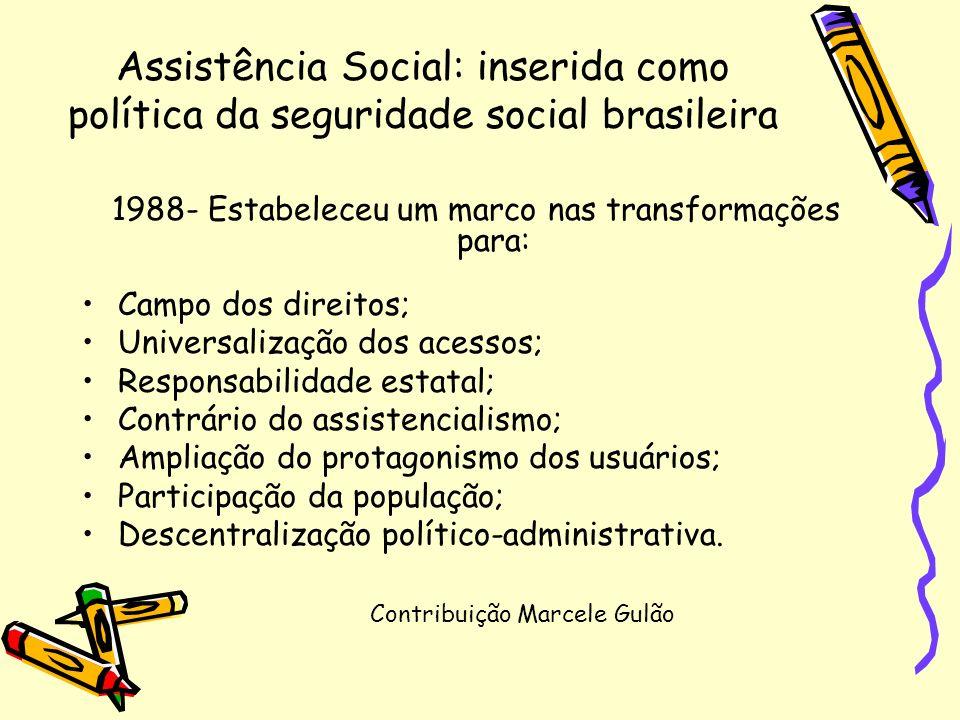Assistência Social: inserida como política da seguridade social brasileira 1988- Estabeleceu um marco nas transformações para: Campo dos direitos; Uni