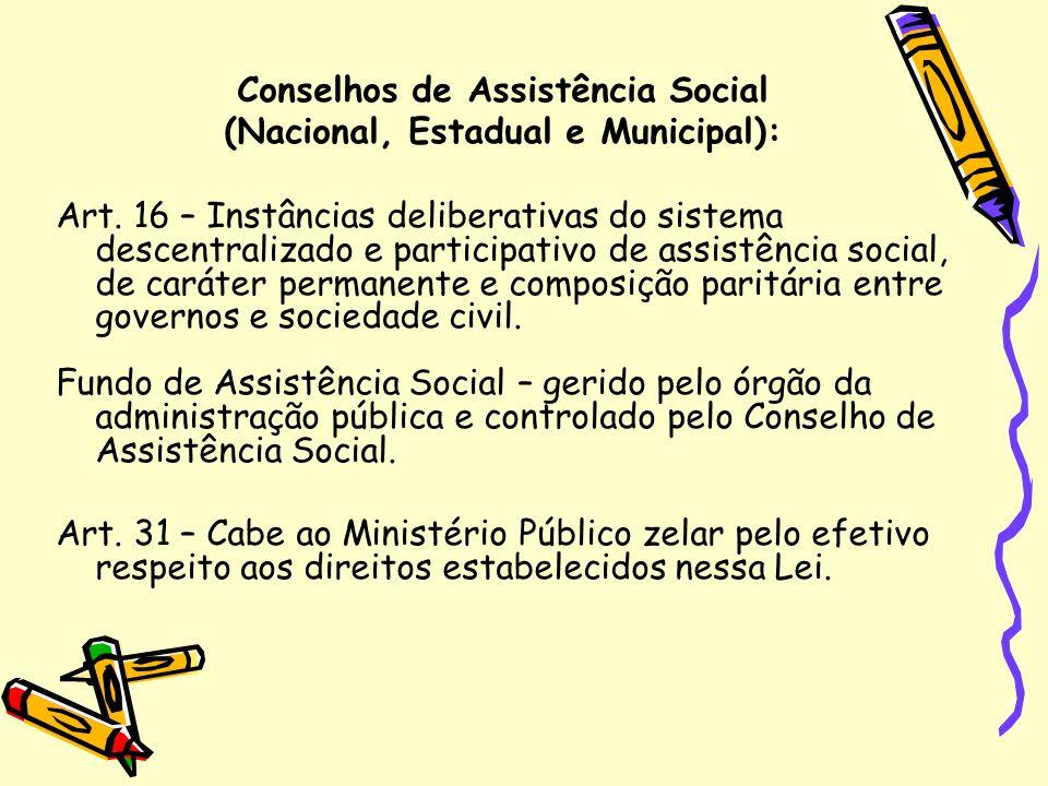 Conselhos de Assistência Social (Nacional, Estadual e Municipal): Art. 16 – Instâncias deliberativas do sistema descentralizado e participativo de ass