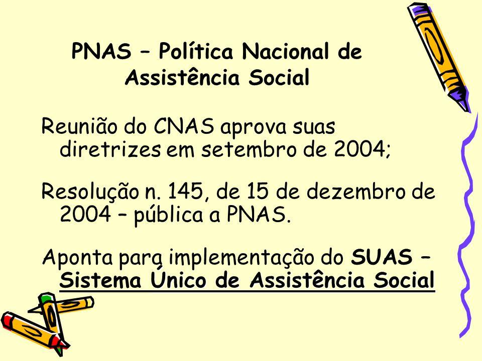 PNAS – Política Nacional de Assistência Social Reunião do CNAS aprova suas diretrizes em setembro de 2004; Resolução n. 145, de 15 de dezembro de 2004