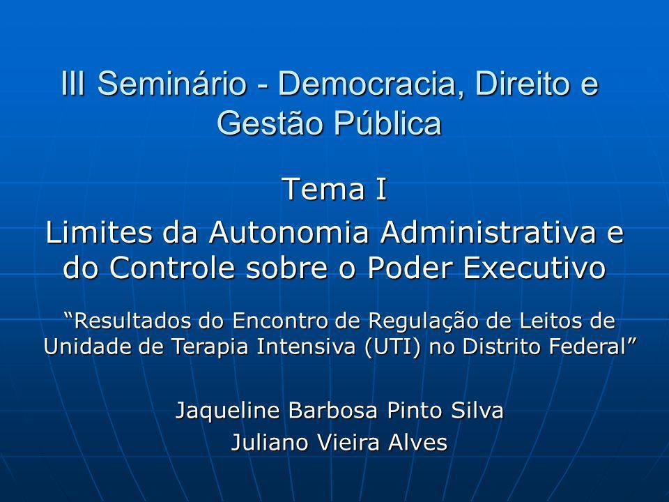 III Seminário - Democracia, Direito e Gestão Pública Tema I Limites da Autonomia Administrativa e do Controle sobre o Poder Executivo Resultados do En