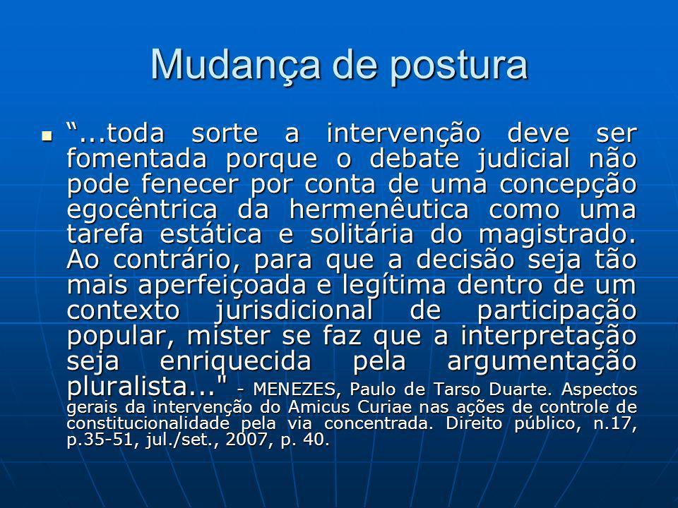 Mudança de postura...toda sorte a intervenção deve ser fomentada porque o debate judicial não pode fenecer por conta de uma concepção egocêntrica da h