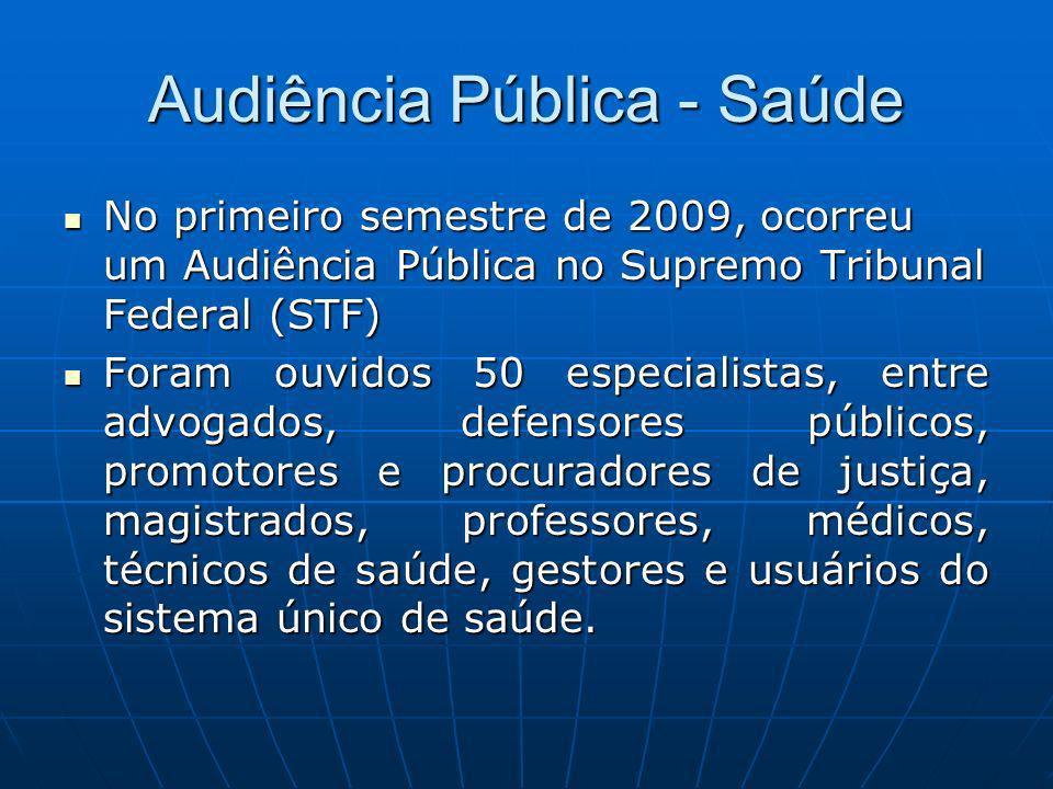 Audiência Pública - Saúde No primeiro semestre de 2009, ocorreu um Audiência Pública no Supremo Tribunal Federal (STF) No primeiro semestre de 2009, o