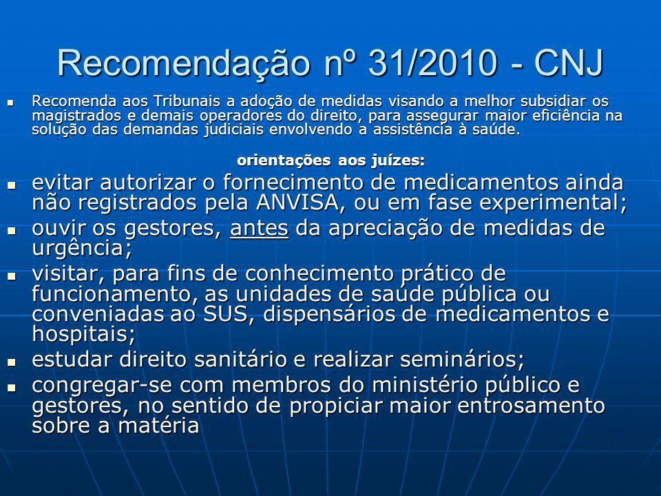 Recomendação nº 31/2010 - CNJ Recomenda aos Tribunais a adoção de medidas visando a melhor subsidiar os magistrados e demais operadores do direito, pa