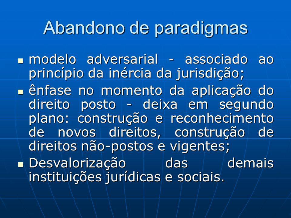 Abandono de paradigmas modelo adversarial - associado ao princípio da inércia da jurisdição; modelo adversarial - associado ao princípio da inércia da