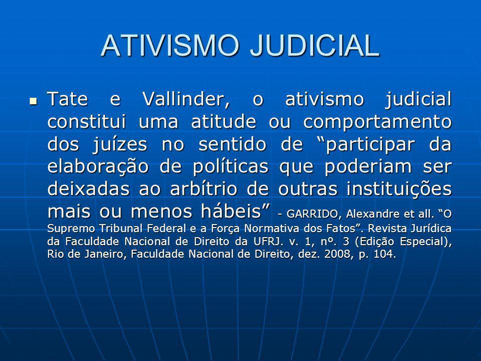 ATIVISMO JUDICIAL Tate e Vallinder, o ativismo judicial constitui uma atitude ou comportamento dos juízes no sentido de participar da elaboração de po