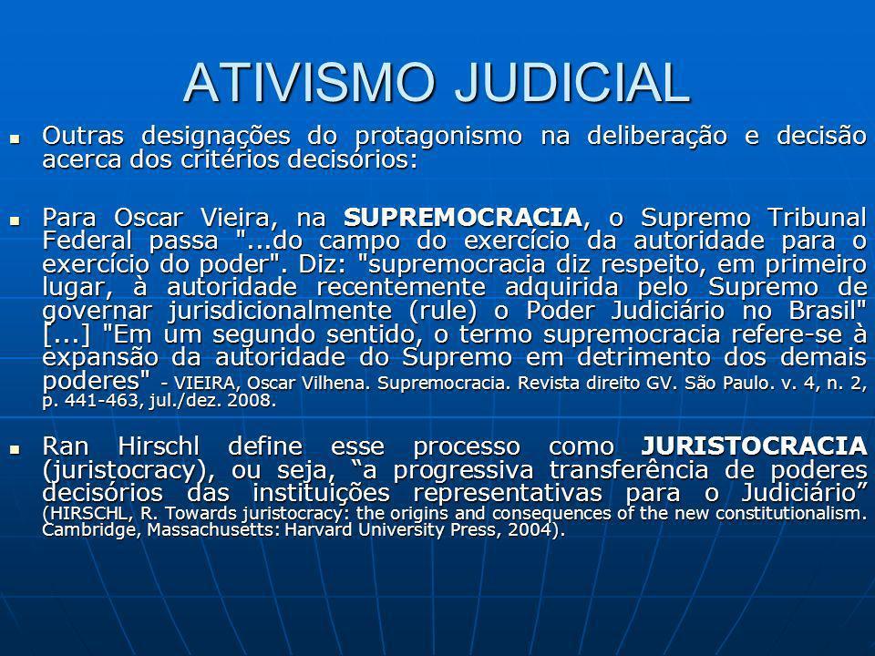 ATIVISMO JUDICIAL Outras designações do protagonismo na deliberação e decisão acerca dos critérios decisórios: Outras designações do protagonismo na d