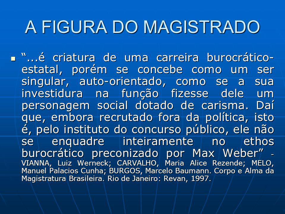 A FIGURA DO MAGISTRADO...é criatura de uma carreira burocrático- estatal, porém se concebe como um ser singular, auto-orientado, como se a sua investi